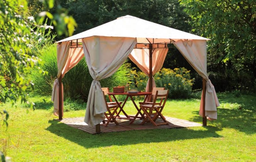 Gazebo per giardino in legno 300 x 300 cm con telo e tende for Teli laterali per gazebo leroy merlin