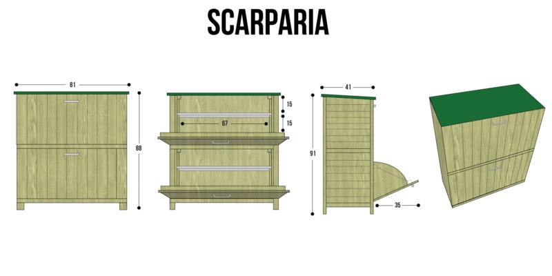 Scarpiera armadio in legno scarparia 78x38x90 h cm porta for Mobile esterno legno