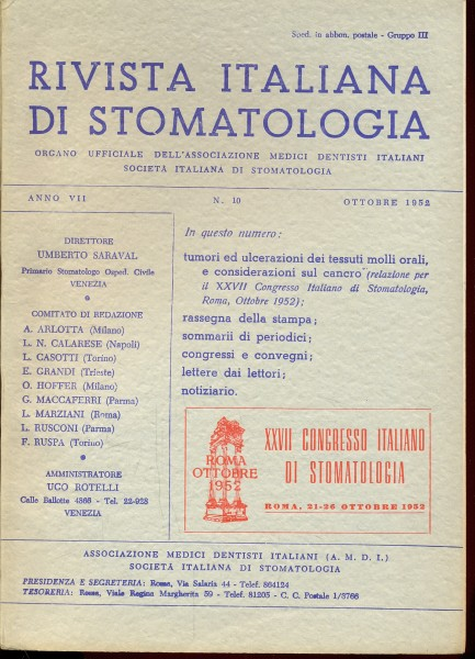 RIVISTA ITALIANA DI STOMATOLOGIA - OTTOBRE 1952 N. 10 AA.VV. A193