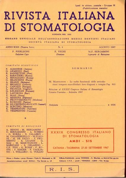 RIVISTA ITALIANA DI STOMATOLOGIA - AGOSTO 1967 N. 8 AA.VV. A193